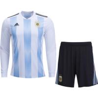 2018 World Cup Argentina Home Long Sleeve Jersey Kit(Shirt+Short)