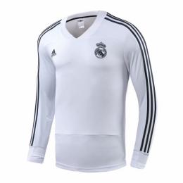 18-19 Real Madrid White V-Neck Sweat Top Shirt