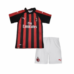 18-19 AC Milan Home Red&Black Children's Jersey Kit(Shirt+Short)