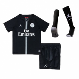 18-19 PSG JORDAN 3rd Away Black Children's Jersey Kit(Shirt+Short+Socks)