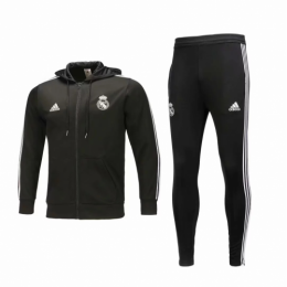 18-19 Real Madrid Black Hoody Training Kit(Jacket+Trouser)