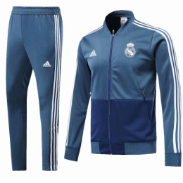 18-19 Real Madrid Blue V-Neck Training Kit(Jacket+Trouser)