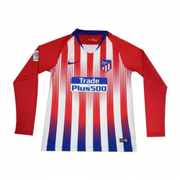 18-19 Atletico Madrid Home Red&White Long Sleeve Jerseys Shirt