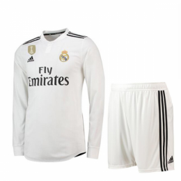 18-19 Real Madrid Home White Long Sleeve Jersey Kit(Shirt+Short)