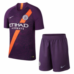 18-19 Manchester City Third Away Purple Soccer Jersey Kit(Shirt+Short)