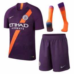 18-19 Manchester City Third Away Purple Soccer Jersey Whole Kit(Shirt+Short+Socks)