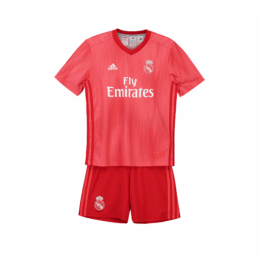 18-19 Real Madrid Third Away Red Children's Jersey Kit(Shirt+Short)
