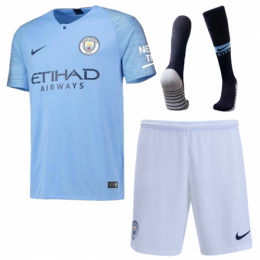 18-19 Manchester City Home Soccer Jersey Kit(Shirt+Short+Socks)