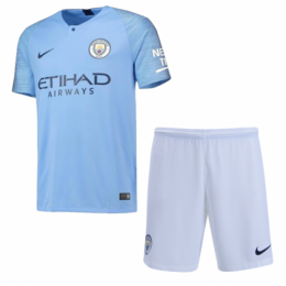 18-19 Manchester City Home Soccer Jersey Kit(Shirt+Short)