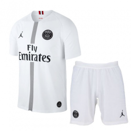 18-19 PSG JORDAN 3rd Away White Soccer Jersey Kit(Shirt+Short)