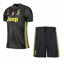 18-19 Juventus Third Away Black Soccer Jersey Kit(Shirt+Short)