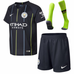 18-19 Manchester City Away Navy Soccer Jersey Whole Kit(Shirt+Short+Socks)