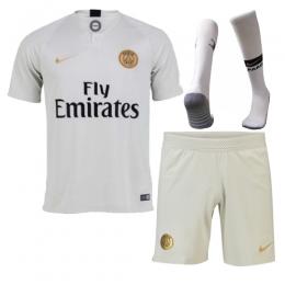 18-19 PSG Away Light Gold Soccer Jersey Whole Kit(Shirt+Short+Socks)