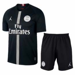 18-19 PSG JORDAN 3rd Away Black Soccer Jersey Kit(Shirt+Short)