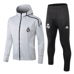 18-19 Real Madrid Light Gray Hoody Training Kit(Jacket+Trouser)