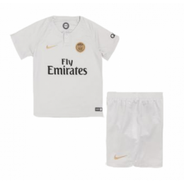 18-19 PSG Away White Children's Jersey Kit(Shirt+Short)