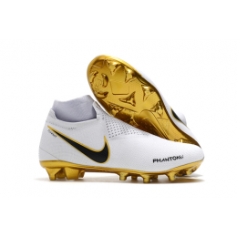 NK Phantom Vision Elite DF FG Soccer Cleats-White&Goalden