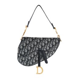Christian Dior Oblique Saddle Bag M0446 Black