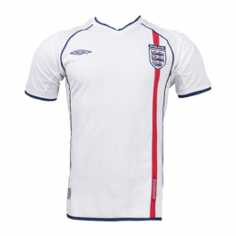2002 England Home White Retro Jerseys Shirt