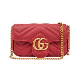 Gucci GG Marmont Matelassé Leather Super Mini Bag-Red 476433R