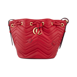 Gucci GG Marmont Quilted Leather Bucket Bag-Red 476674