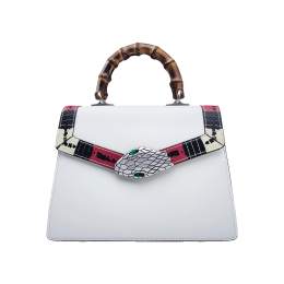 Gucci Snake Pattern Leather Bamboo Top Handle Bag 453751