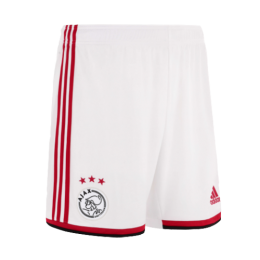 19-20 Ajax White Home White Soccer Jerseys Short