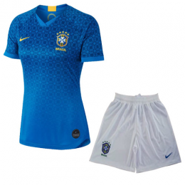 2019 World Cup Brazil Away Blue Women's Jerseys Kit(Shirt+Short)
