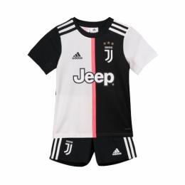 19-20 Juventus Home Black&White Children's Jerseys Kit(Shirt+Short)