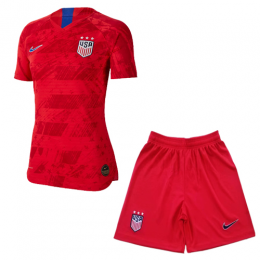 2019 World Cup USA Away Red Women's Jerseys Kit(Shirt+Short)