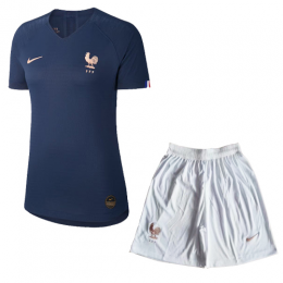 2019 World Cup France Home Black Women's Jerseys Kit(Shirt+Short)
