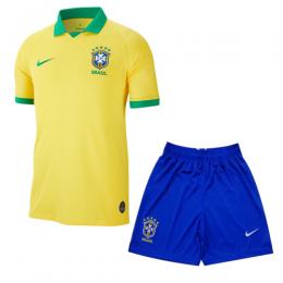 2019 Brazil Home Yellow Soccer Jerseys Kit(Shirt+Short)