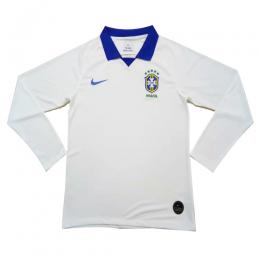 2019 Brazil Away White Long Sleeve Jerseys Shirt