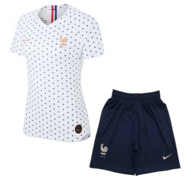 2019 World Cup France Away White Women's Jerseys Kit(Shirt+Short)
