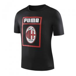 19-20 AC Milan Black Logo Fan T Shirt-Black
