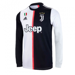 19-20 Juventus Home Black&White Long Sleeve Soccer Jerseys Shirt