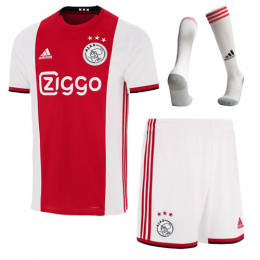 19-20 Ajax Home Red&White Soccer Jerseys Whole Kit(Shirt+Short+Socks)