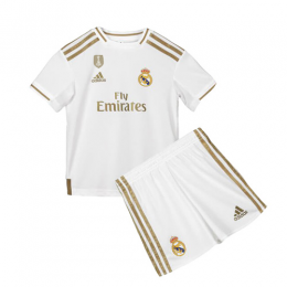 19-20 Real Madrid Home White Children's Jerseys Kit(Shirt+Short)