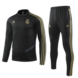 19-20 Real Madrid Black Sweat Shirt Kit(Top+Trouser)