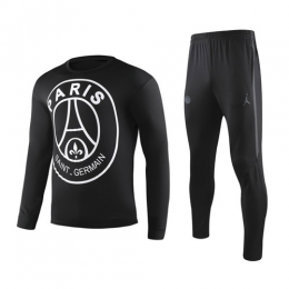 19-20 PSG Big Logo Black Sweat Shirt Kit(Top+Trouser)