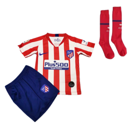 19-20 Atletico Madrid Home Red&White Children's Jerseys Kit(Shirt+Short+Socks)