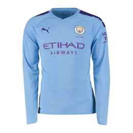 19/20 Manchester City Home Blue Long Sleeve Jerseys Shirt