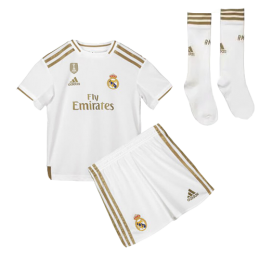 19-20 Real Madrid Home White Children's Jerseys Kit(Shirt+Short+Socks)