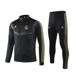 19/20 Real Madrid Black High Neck Collar Training Kit(Jacket+Trouser)