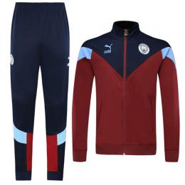 19/20 Manchester City Dark Red Training Kit(Jacket+Trouser)