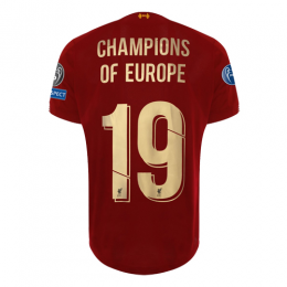 19/20 Liverpool Home Red Champions of Europe #19 Jerseys Shirt