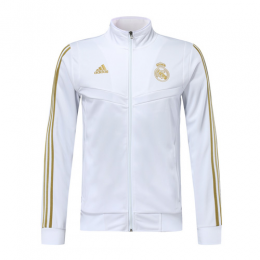 19/20 Real Madrid White High Neck Collar Training Jacket