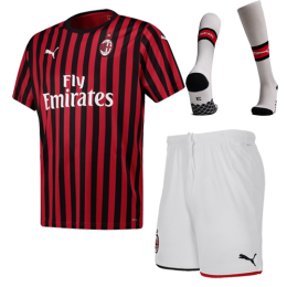 19-20 AC Milan Home Black&Red Soccer Jerseys Kit(Shirt+Short+Sock)