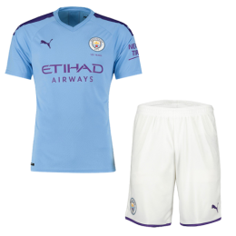 19-20 Manchester City Home Blue Jerseys Kit(Shirt+Short)