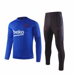19/20 Barcelona Blue Zipper Sweat Shirt Kit(Top+Trouser)